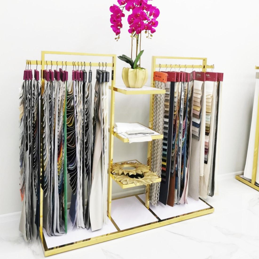 Вешалка стойка золотоая напольная для одежды с полками, торговое оборудование для магазина, шоу-рума