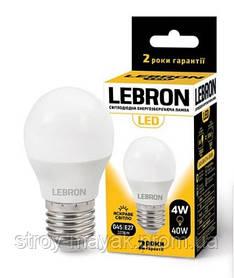 Светодиодная LED лампа LEBRON L-G45, 4W, Е27 яркий свет