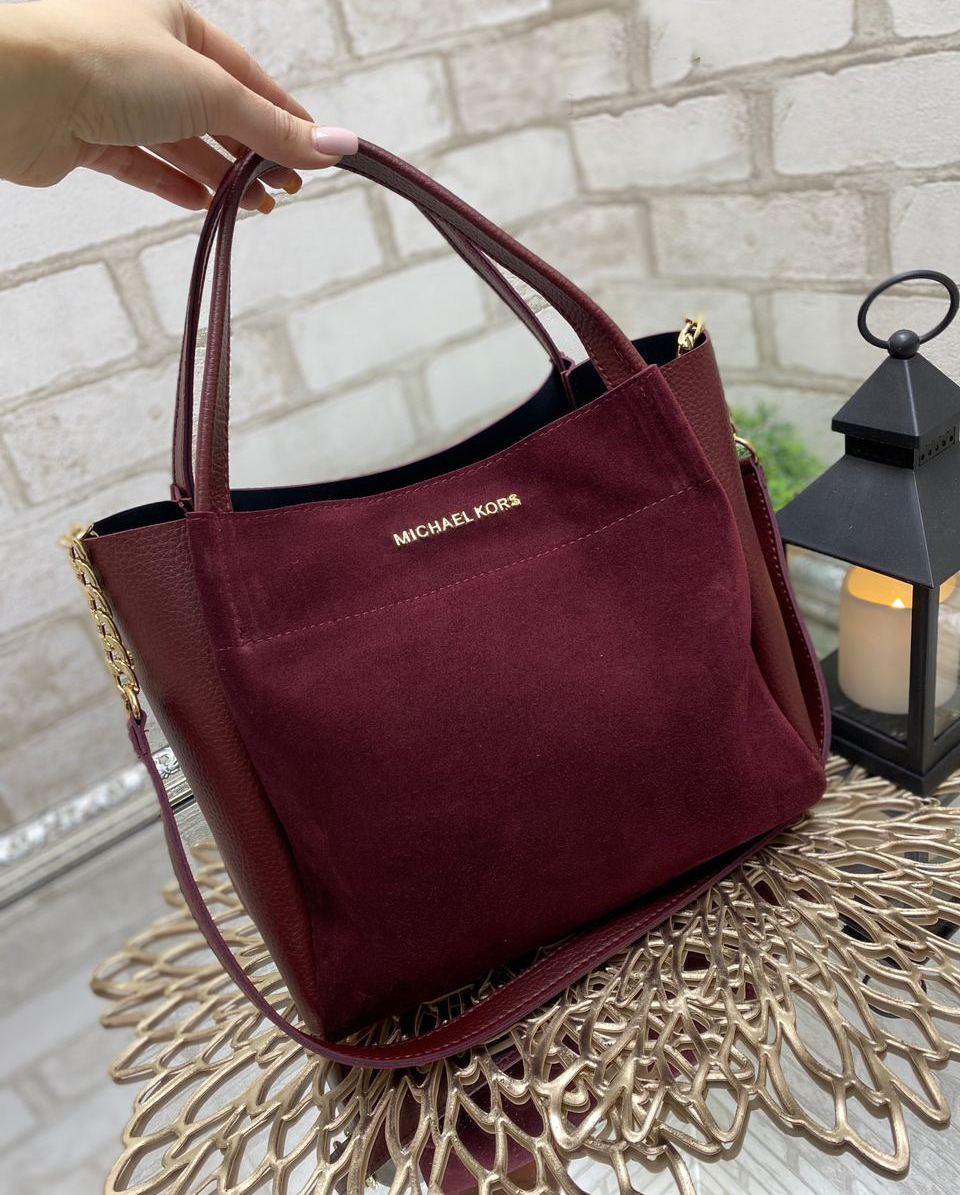 Вместительная женская сумка на плечо городская стильная бордовая шоппер натуральная замша+кожзам