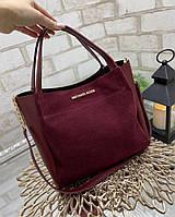 Вместительная женская сумка на плечо городская стильная бордовая шоппер натуральная замша+кожзам, фото 1