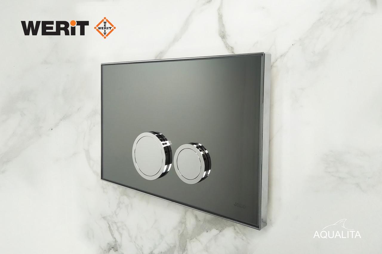 Панель змиву дзеркало графіт з латунними кнопками Avangarde до інсталяцій Werit 167-30001120-00