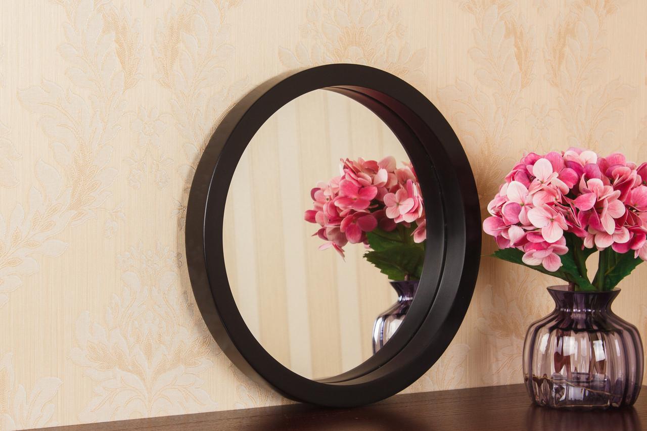 Зеркало круглое в тонкой черной раме в салон/Зеркало круглое на стену/Диаметр 440мм/ Код MD 2.1/2