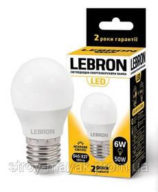 Светодиодная LED лампа LEBRON L-G45, 6W, Е27 яркий свет