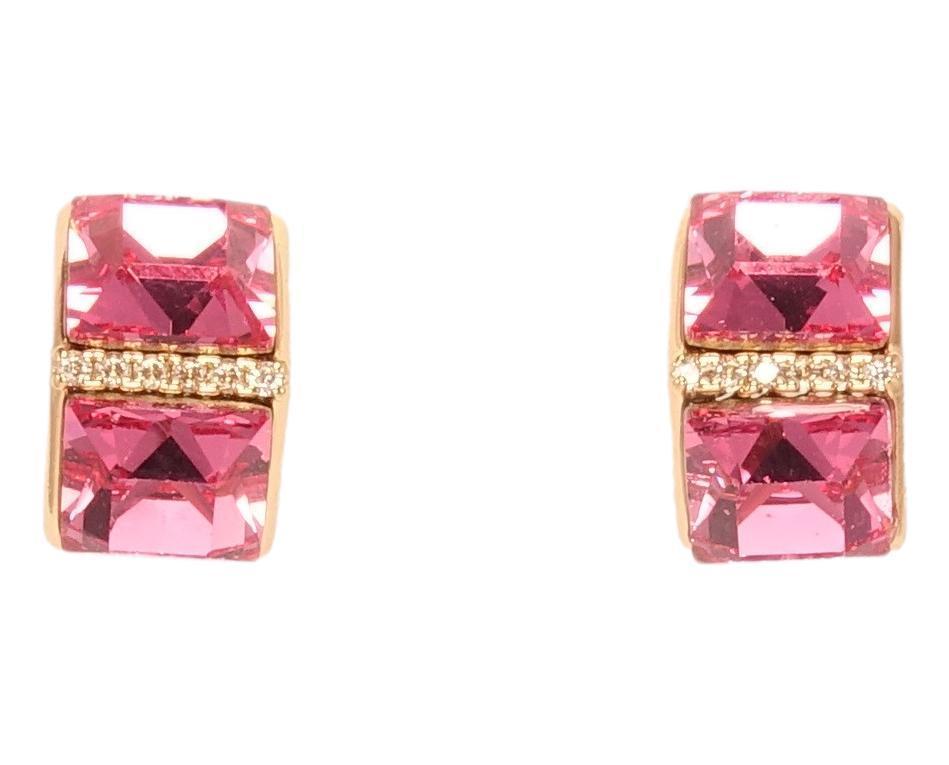 """Серьги ХР Позолота 18K с кристаллами Swarovski гвоздики """"Треугольная Вершина Розовые Кристаллы"""""""