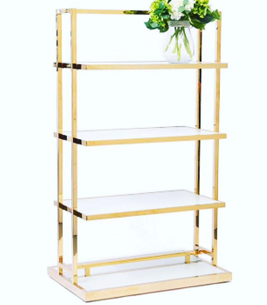 Стойка стеллаж напольный для магазина одежды с полками золото\хром, торговое оборудование