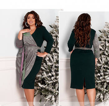 / Размер 46-48 / Женское вечернее платье плюс сайз / 2103Б-Зеленый