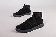 Ботинки мужские замшевые черные, на шнурках и липучке, деми