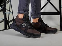 Ботинки мужские из нубука коричневые с вставками черной кожи, зимние