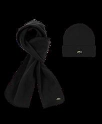 Зимний комплект шапка шарф Lacoste черный