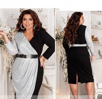/ Размер 46-48 / Женское вечернее платье плюс сайз / 2103Б-Черный-Серебро