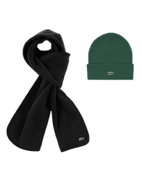 Зимний комплект шапка шарф Lacoste серый