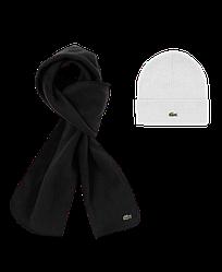 Зимний комплект шапка шарф Lacoste белый