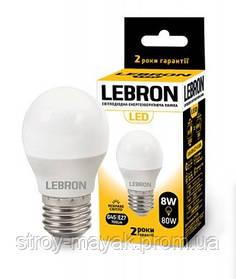 Светодиодная LED лампа LEBRON L-G45, 8W, Е27 дневной свет