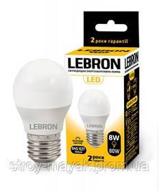 Светодиодная LED лампа LEBRON L-G45, 8W, Е27 яркий свет