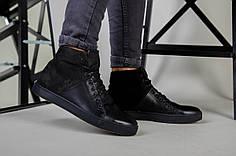 Ботинки мужские кожаные черные с вставкой нубука зимние