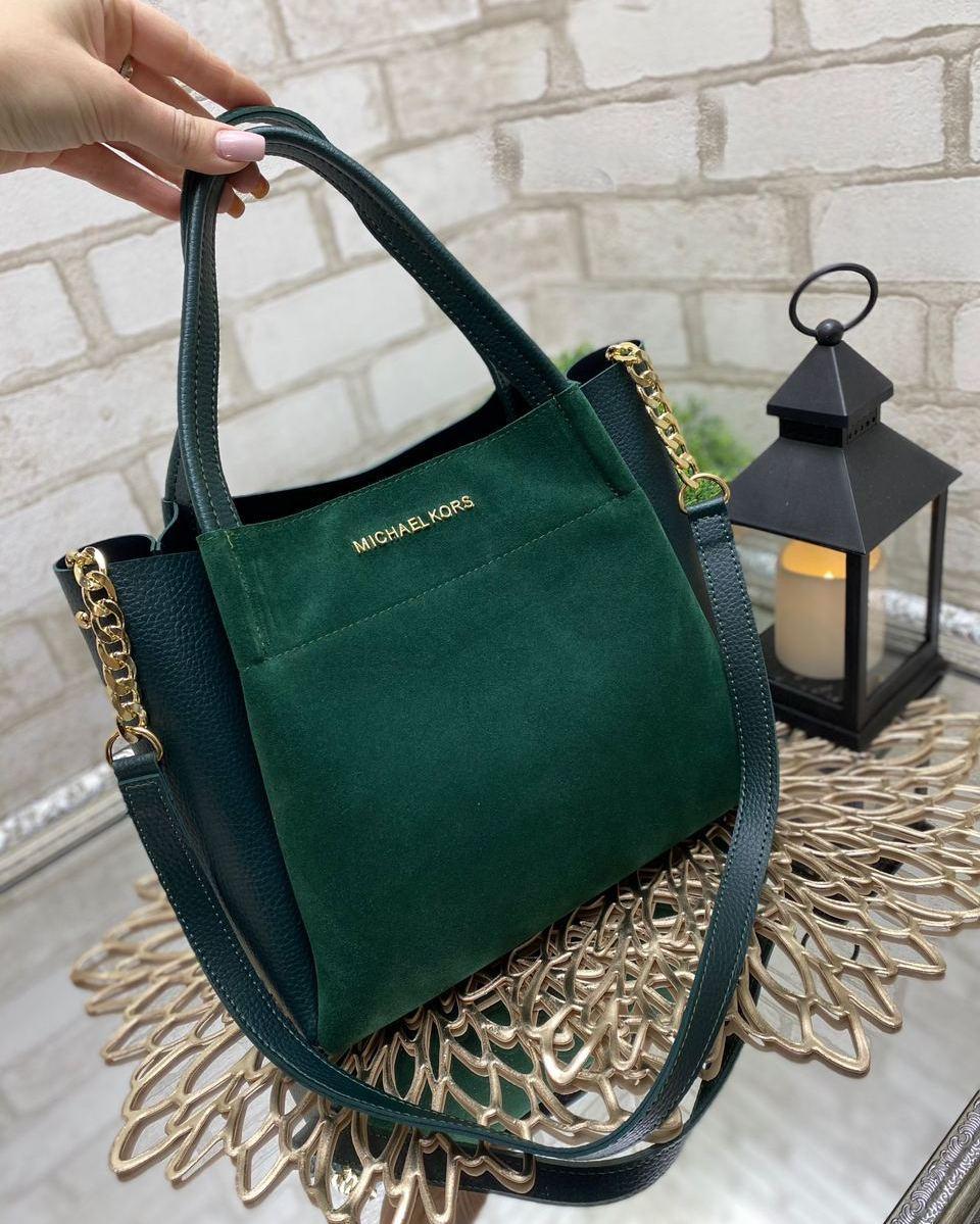 Вместительная женская сумка на плечо городская стильная зеленая шоппер натуральная замша+кожзам