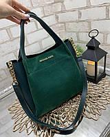 Вместительная женская сумка на плечо городская стильная зеленая шоппер натуральная замша+кожзам, фото 1