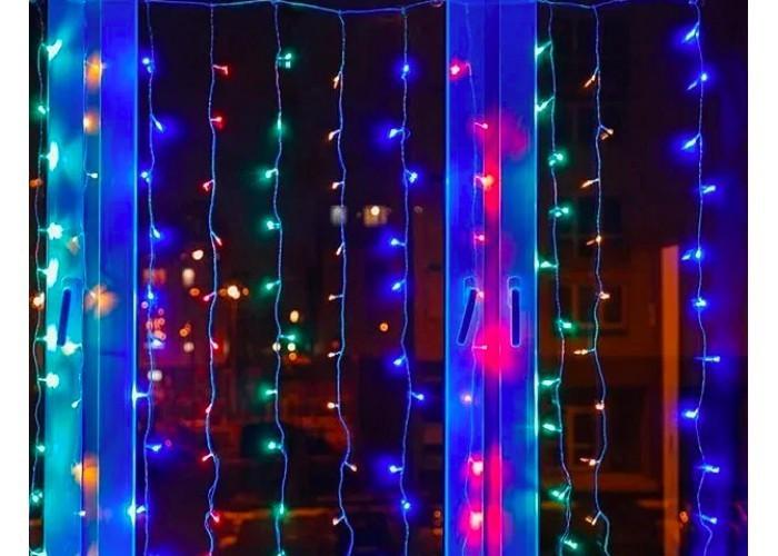 Гирлянда новогодняя Водопад (Штора) 400 LED 3*2m,  Разноцветная (микс) с переходником прозрачный шнур