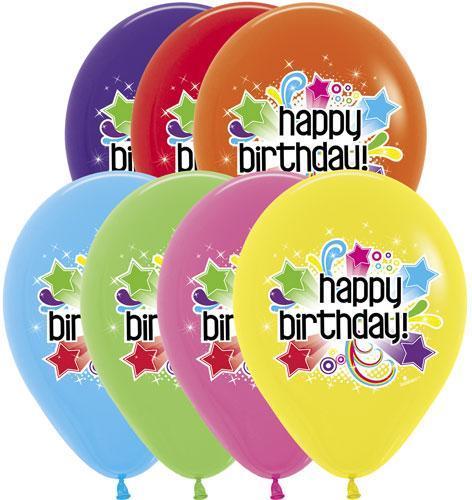 """В 11"""" Birthday Starburst Assortment. С Днем рождения. Шары латексные праздничные с надписями"""