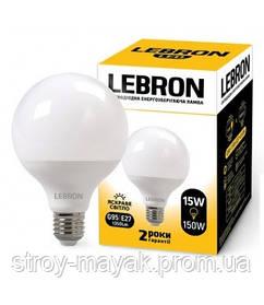 Светодиодная LED лампа LEBRON L-G95,15W, Е27 яркий свет