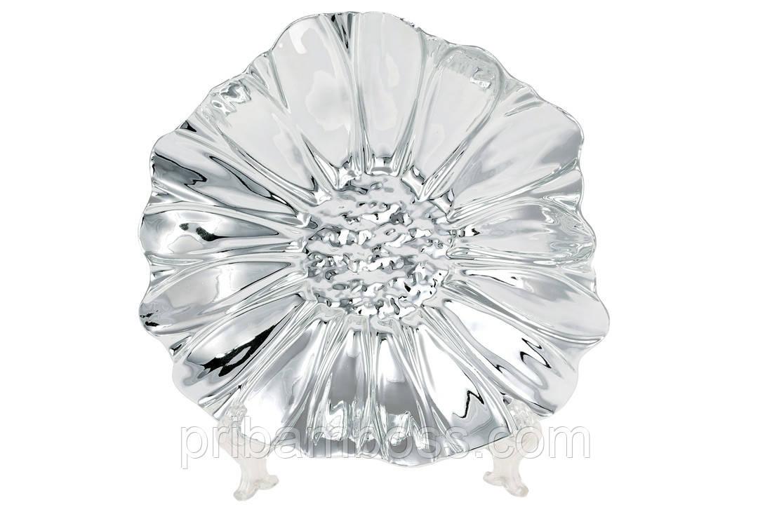 Декоративное керамическое блюдо Цветок, 18.5см, цвет - серебро