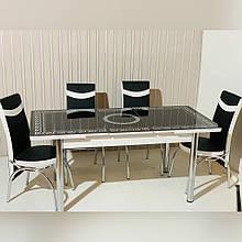64-007 Стіл розкладний зі скла і 4 стільці