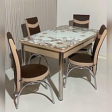 64-020 Стіл розкладний зі скла і 4 стільці