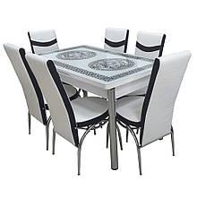 6-034 Стіл розкладний зі скла і 6 стільців