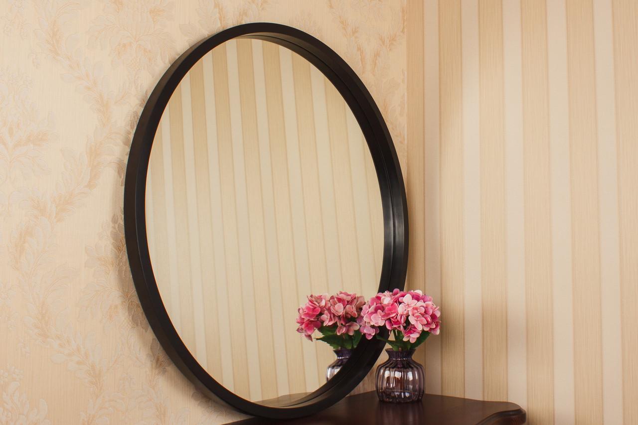 Зеркало в раме в стиле минимализм/ Диаметр 810мм/ Зеркало круглое влагостойкое/Код MD 2.1/6