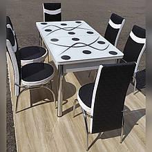 6-042 Стіл розкладний зі скла і 6 стільців