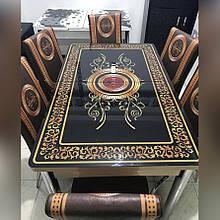 6-048 Стіл розкладний зі скла і 6 стільців