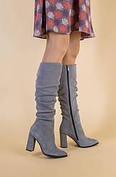 Демисезонные замшевые серые женские сапоги на каблуке 36