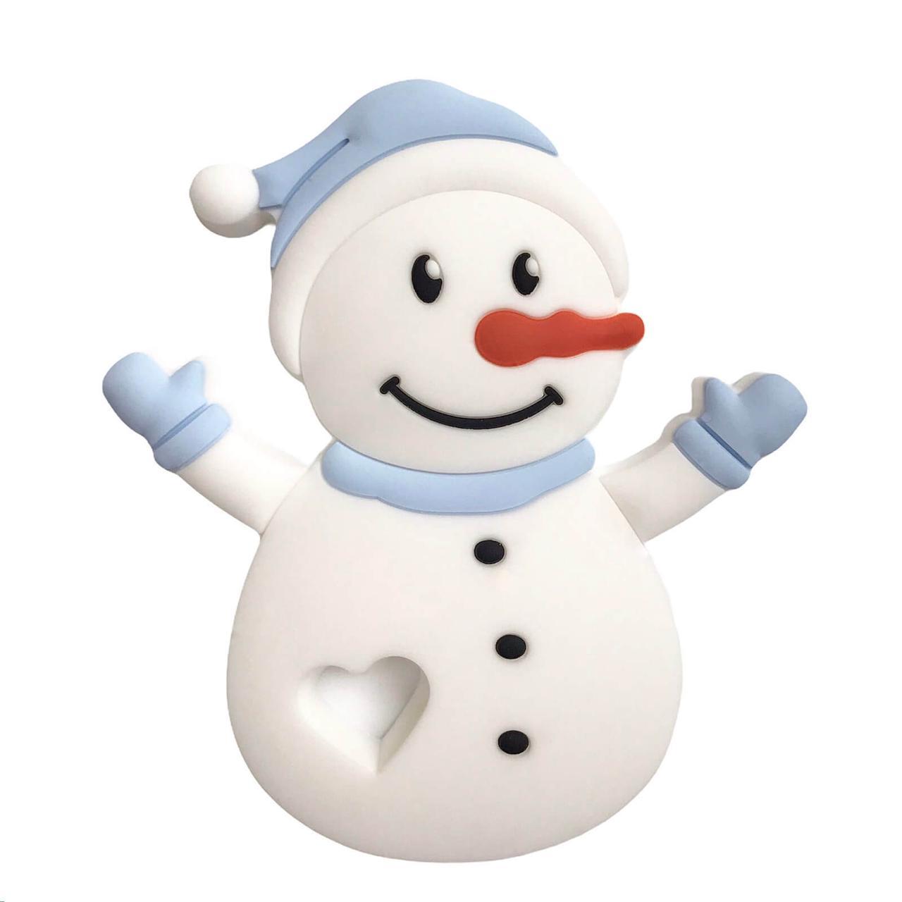 Снеговик (беби блю), силиконовый прорезыватель для зубов