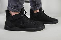 Мужские черные кроссовки из нубука, на байке, 40