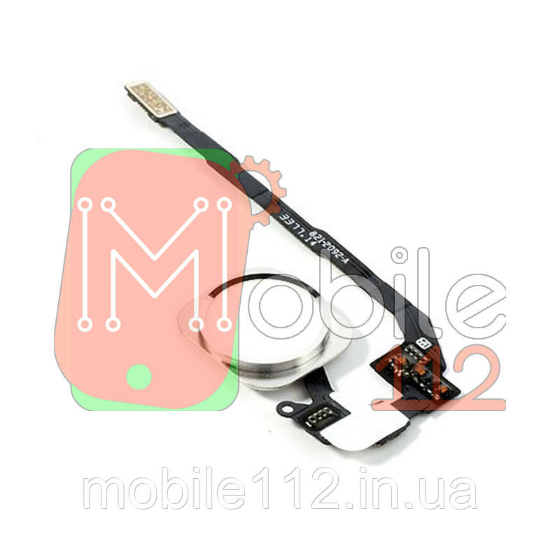 Шлейф Apple iPhone 5S SE с кнопкой меню Home белая пластиковая накладка