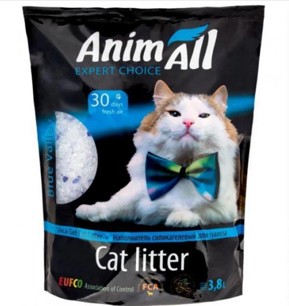 Силикагелевый наполнитель AnimAll Голубой Аквамарин для котов 3.8 л (1.6 кг)