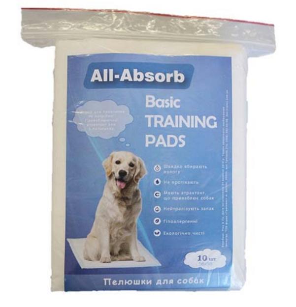 Пелюшки All-Absorb Basic для собак 56х58 см 10 шт