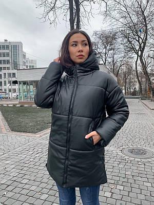Модная женская удлиненная черная зимняя куртка из экокожи