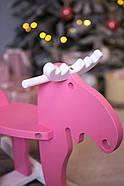 """Дерев'яна дитяча гойдалка """"Лосяш"""", рожевий колір, фото 3"""