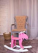 """Дерев'яна дитяча гойдалка """"Лосяш"""", рожевий колір, фото 5"""