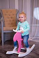 """Дерев'яна дитяча гойдалка """"Лосяш"""", рожевий колір, фото 4"""