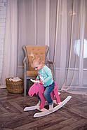 """Дерев'яна дитяча гойдалка """"Лосяш"""", рожевий колір, фото 9"""