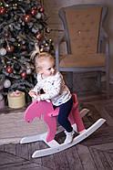 """Дерев'яна дитяча гойдалка """"Лосяш"""", рожевий колір, фото 10"""