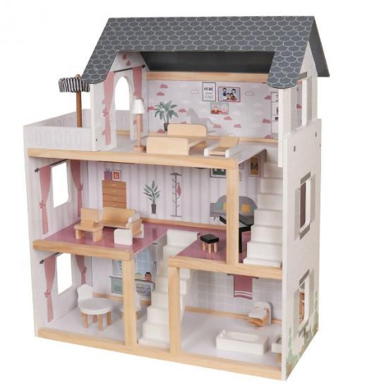 Кукольный домик трехэтажный дом для маленькой куклы AVKO Вилла Толедо