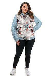 Куртка демисезон,женская голубая с принтом (48,50,52,54,56р)