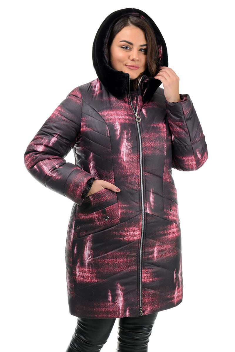 Куртка зимняя, женская черная с принтом (48,50,52,54,56,58р)