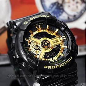 Годинники наручні чорні Casio G-Shock GA-110 Black-Gold New / касіо джишок чорні з золотим