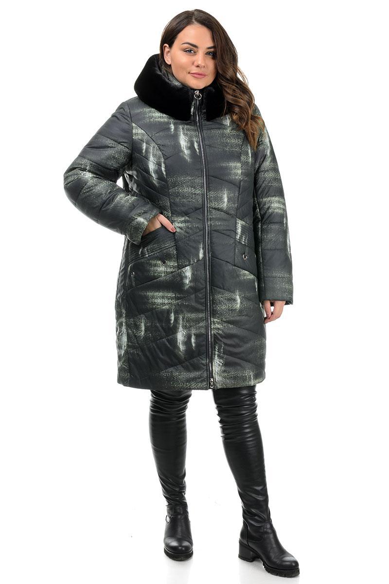 Куртка женская, зимняя,  черная с принтом (48,50,52,54,56,58р)
