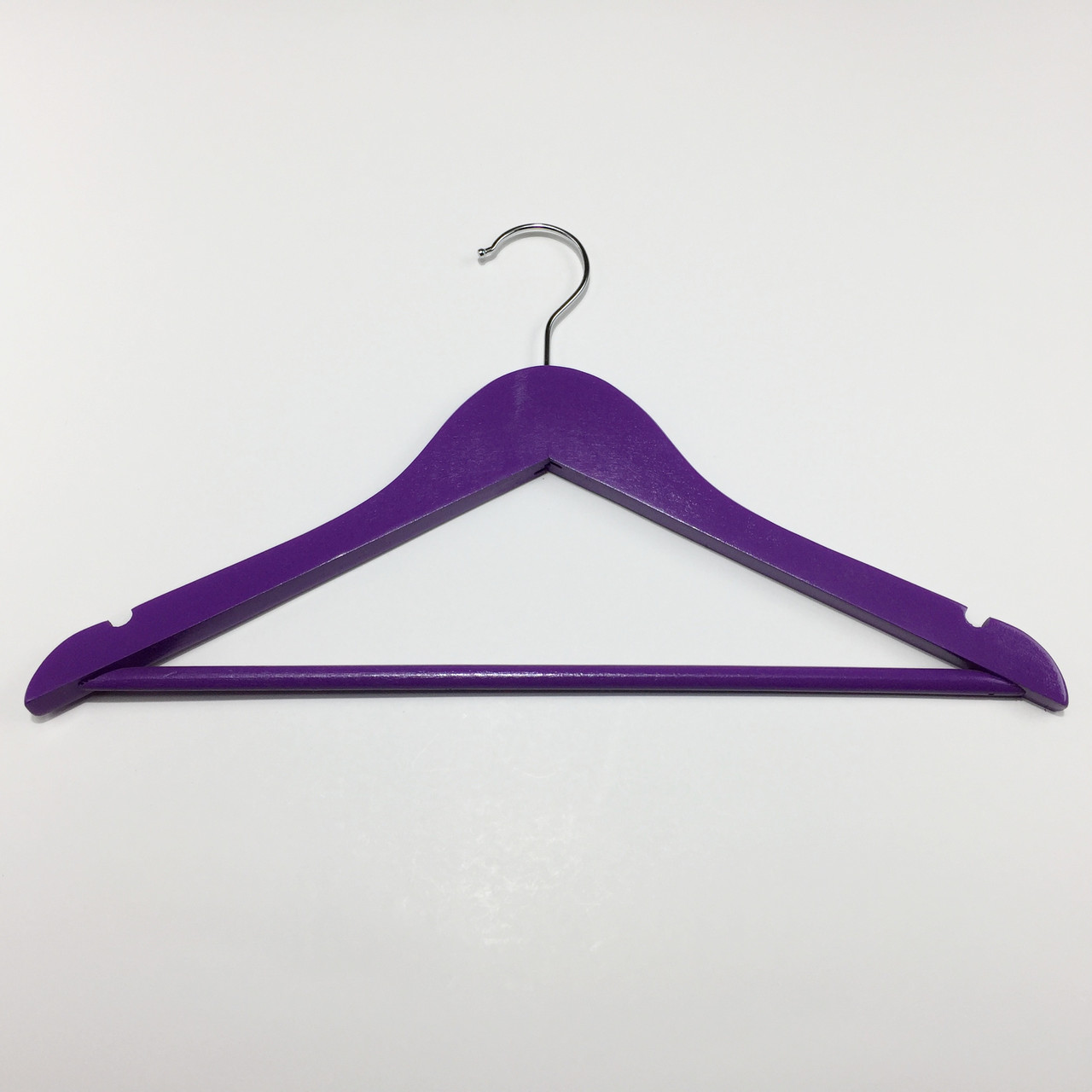 Плечики вешалки тремпеля деревянные детские фиолетового цвета, длина 380 мм