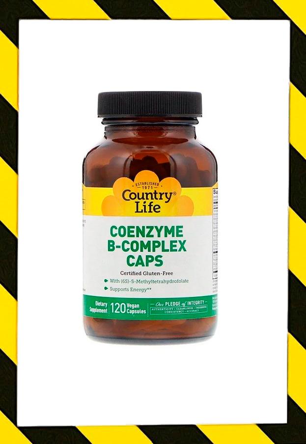 Country Life, Коферментный комплекс витаминов группы В , B1 B2 B12 и др. 120 веганских капсул